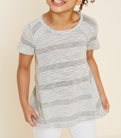 HEATHERED STRIPE KNIT TEE 2 COLOR OPTIONS