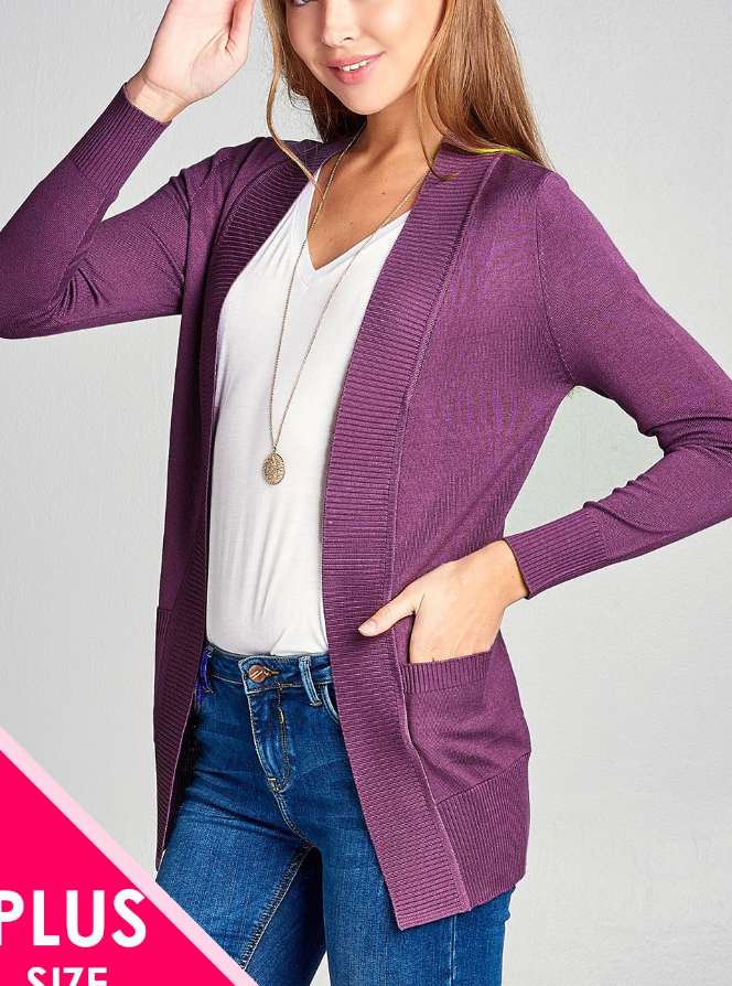 PLUS 3/4 SLEEVE WITH POCKETS RIB BANDED OPEN CARDIGAN SWEATER