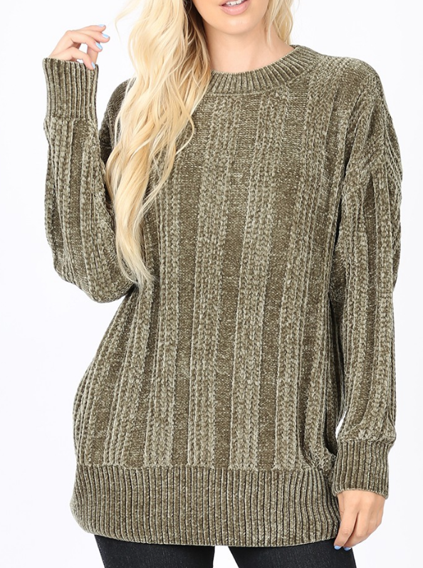 PLUS CABLE KNIT ROUND NECK CHENILLE SWEATER