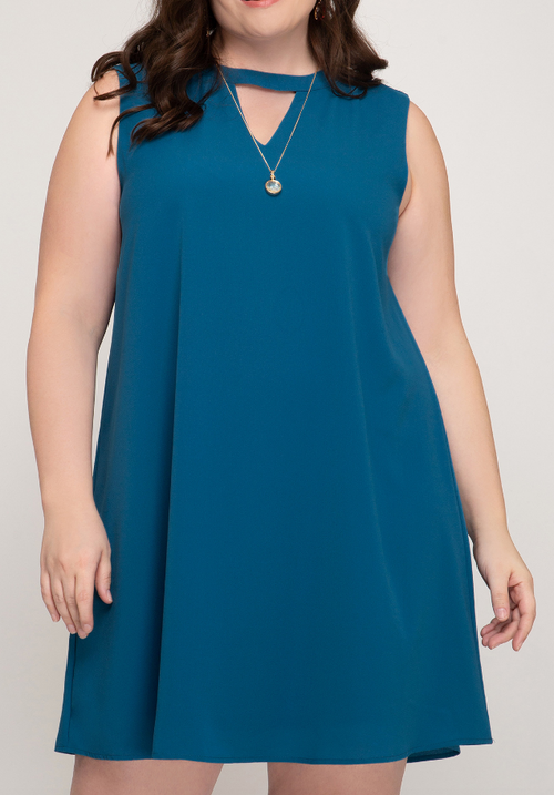 PLUS SLEEVELESS SHIFT DRESS WITH HIGH NECK AND KEYHOLE DETAIL