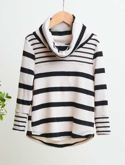 KIDS LONG SLEEVE STRIPED COWLNECK TOP