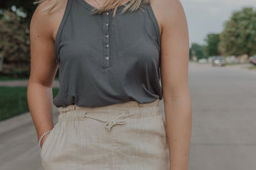 RIB BUTTON DOWN HALTER KNIT TOP 5 COLOR OPTIONS