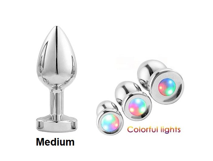 Medium Light Up Silver Anal Plug