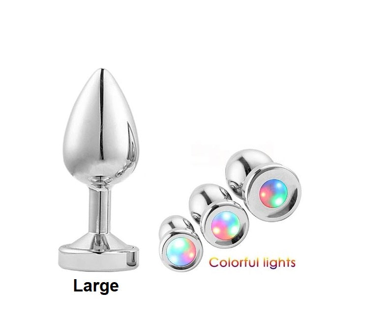 Large Light Up Silver Anal Plug