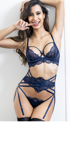 Sapphire Bra Set with Waist Cincher Garter Belt and G String