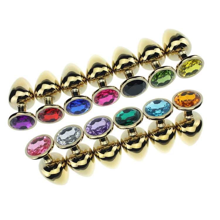 Small Jewelled Gold Anal Plug