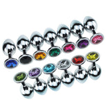 Large Jewelled Silver Anal Plug