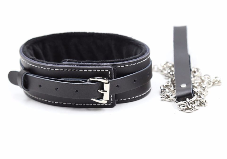 Black with White Stitching Collar