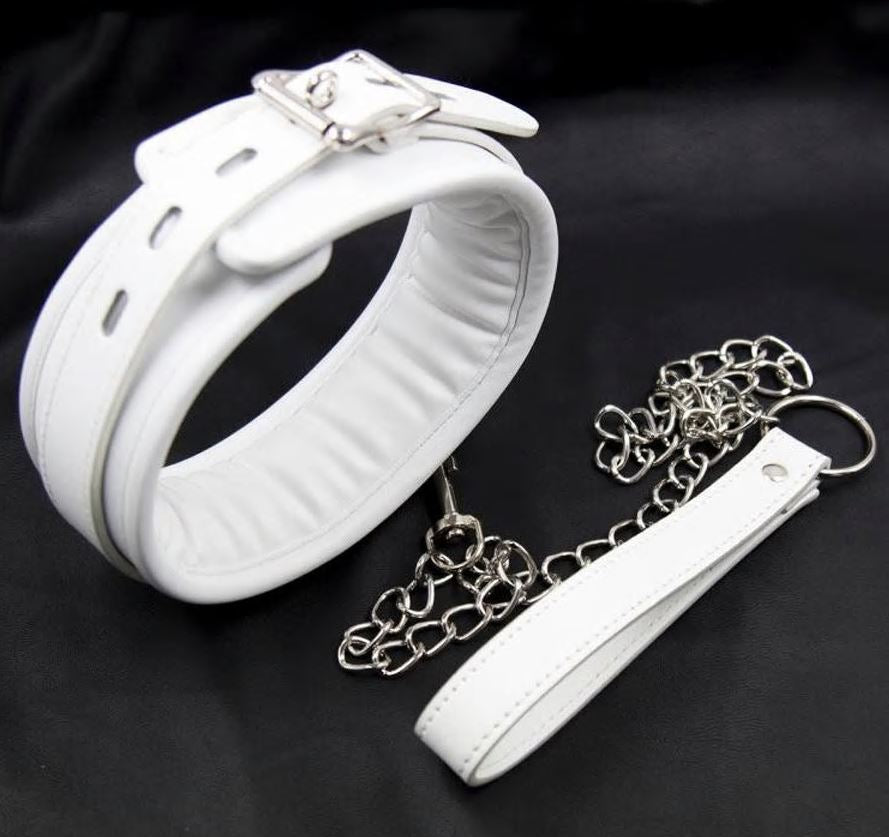 White Padded Collar with leash.