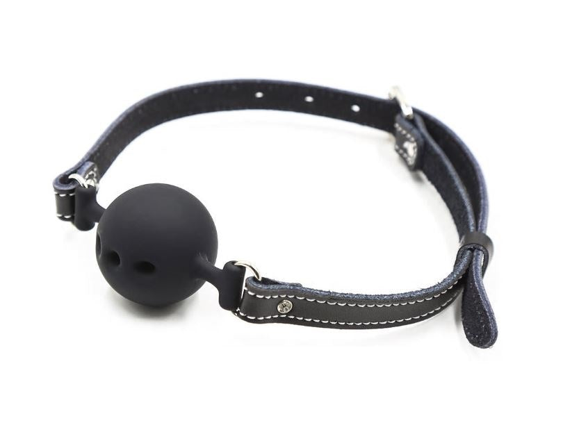 Silicone Ball Gag Leather Strap White Stitching