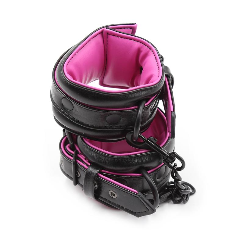 Pink and Black Padded Wrist Restraints
