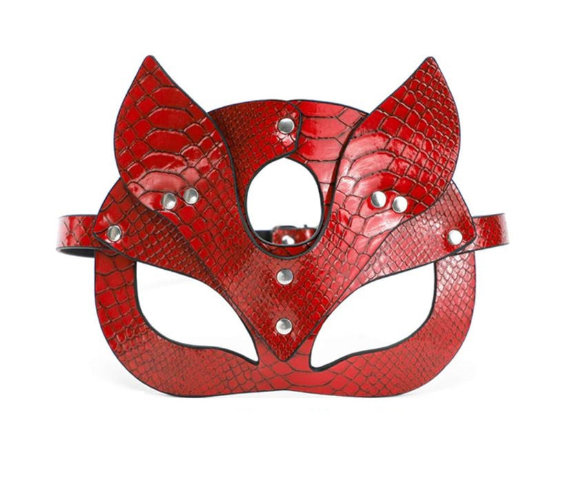 Textured Pointed Eared Cat Mask Red