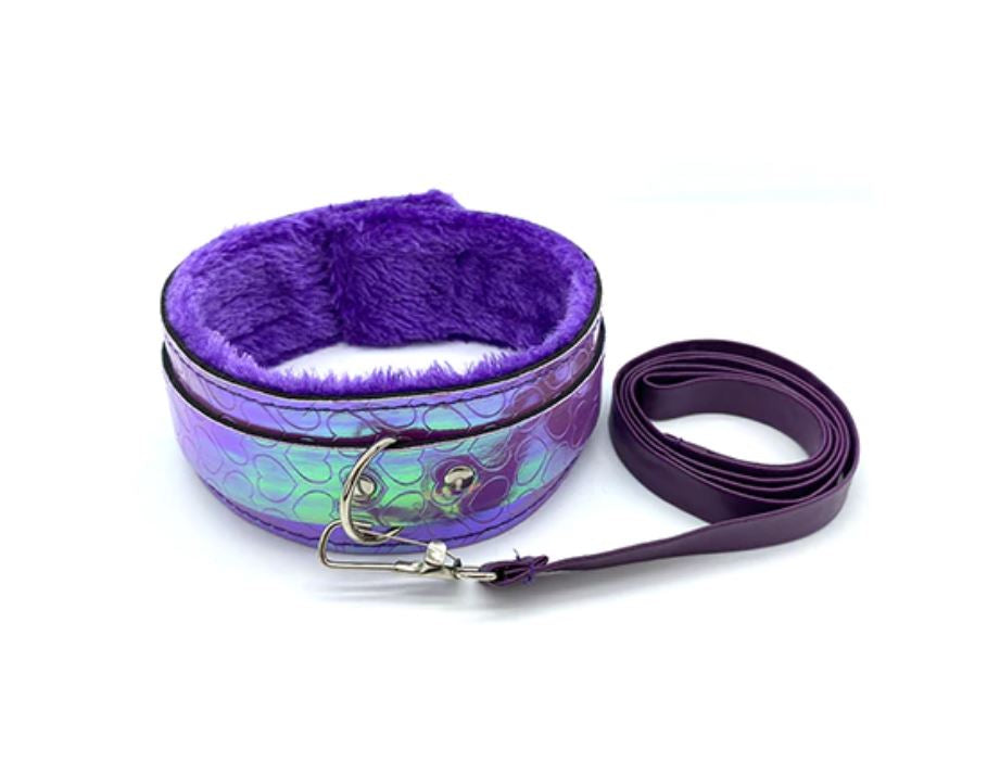 Holographic Purple Heart Collar With Leash