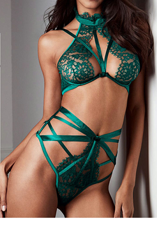 Emerald Bra Set with High Waist Briefs