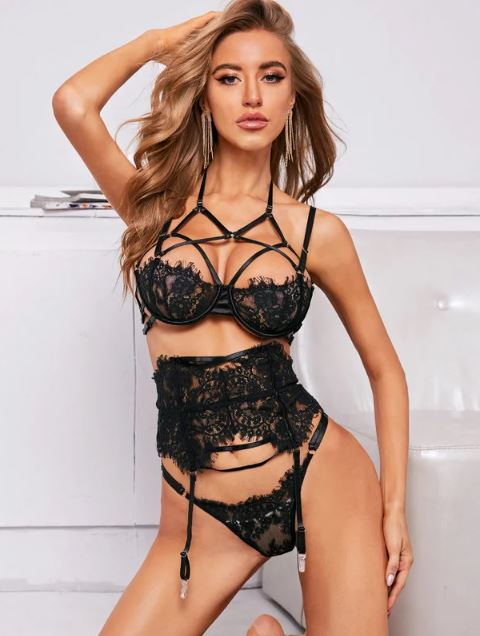 Black Strap Garter Bra Set