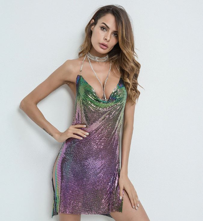 Purple/Green Iridescent Chain Dress