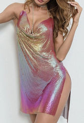 Pink/Gold Iridescent Chain Dress