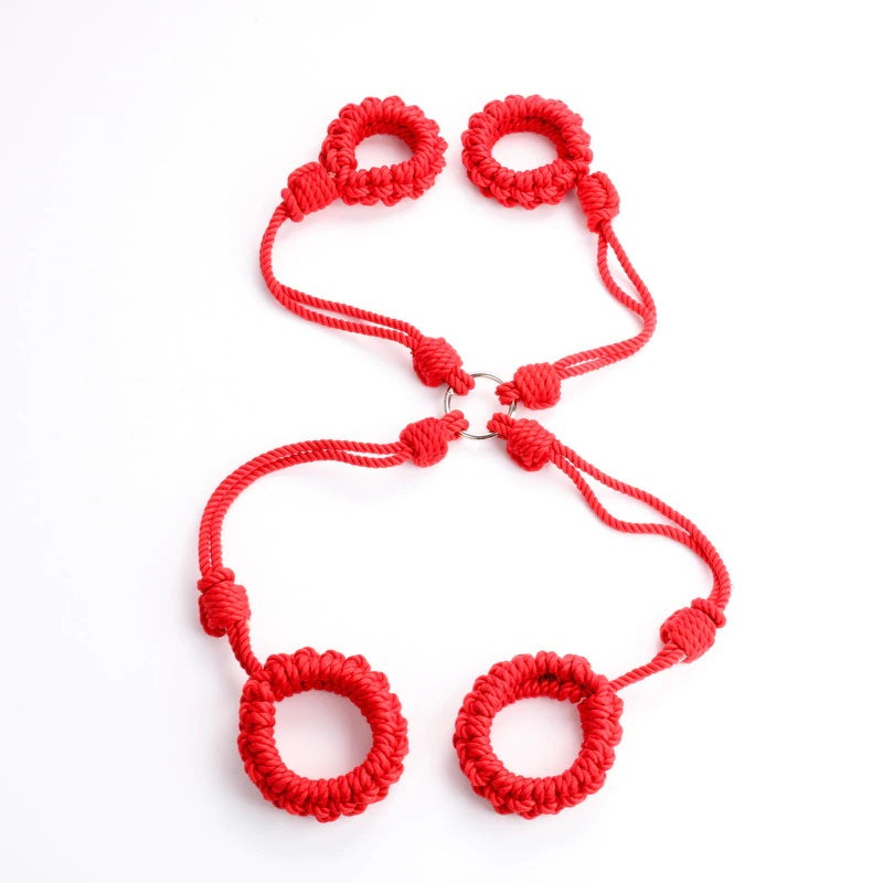 Shibari Red Cotton Hogtie Cuffs