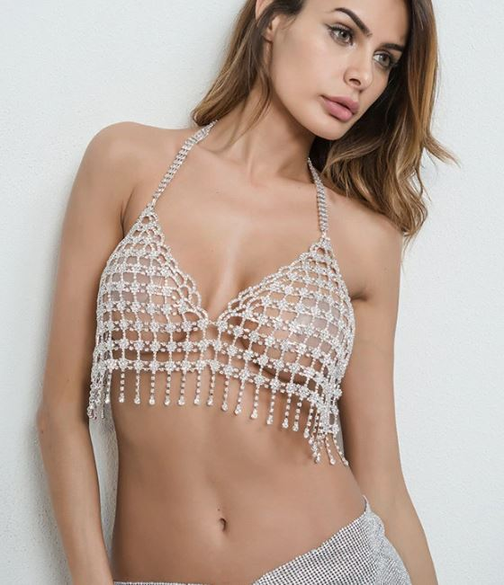 Silver White Gem Top