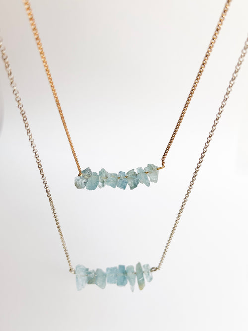 Aqua marine crystal necklace long