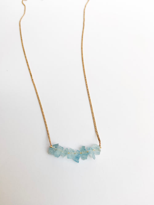 Aqua marine crystal necklace short
