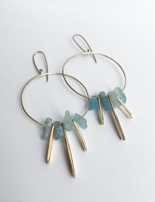 Aqua marine crystal earrings