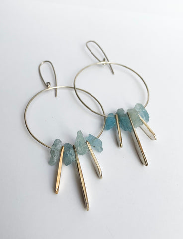 Full moon drop thread earrings