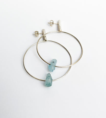 Quartz hook hoop earrings