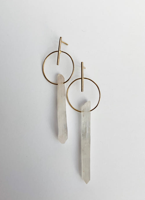 Quartz one drop earrings