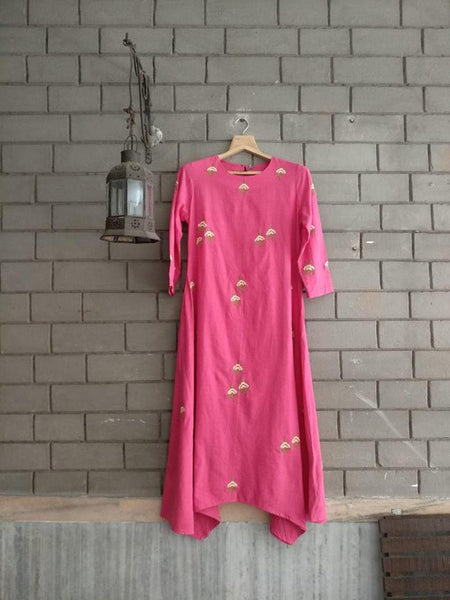 Allover Embroidered Handloom Cotton Tunic Dress