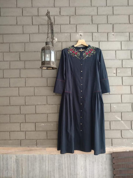 Navy Voile Embroidered tunic dress