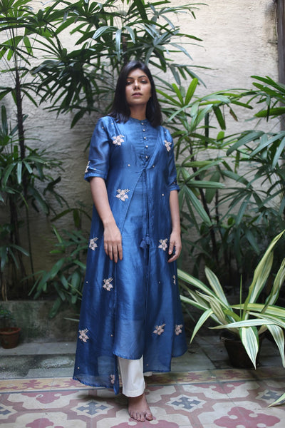 ROAM 192803 Chanderi Tunic Dress Blue