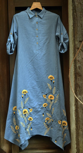 ROAM 174706 Chambray Embroidered Dress
