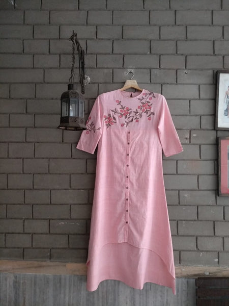 Roam 182001P Pink Yoke embroidered Tunic Dress