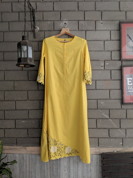 ROAM 190604 YELLOW EMBROIDERED TUNIC