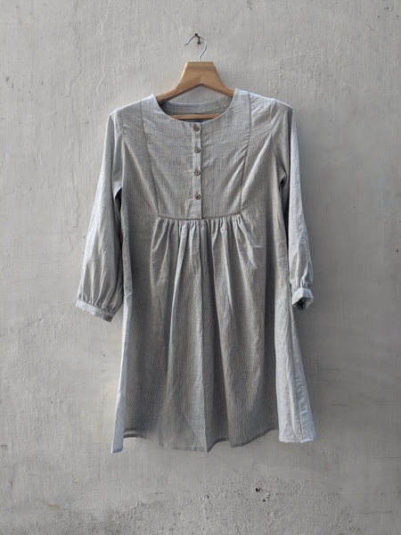 ROAM 191307 handwoven cotton gathered top with embroidery