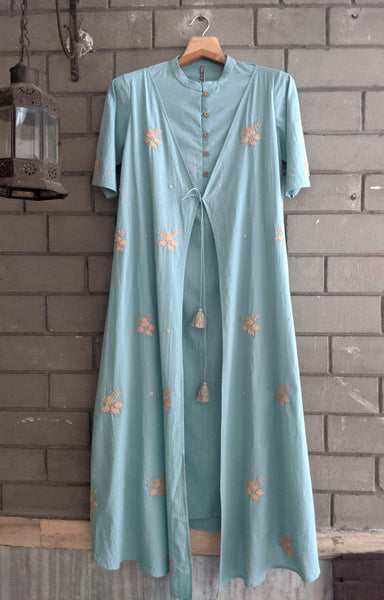 ROAM 192803 V Organic cotton Embroidered Tunic Dress