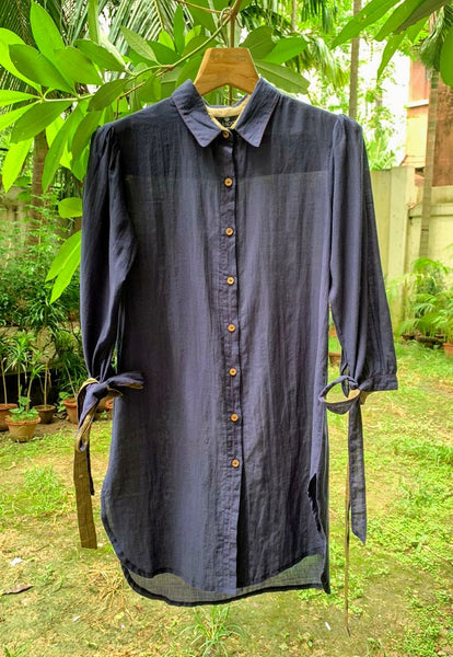 Organic cotton shirt with tie-up detail