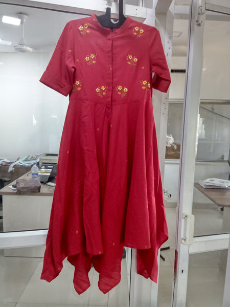 Roam 184003 Red Handloom Embroidered Shirt dress