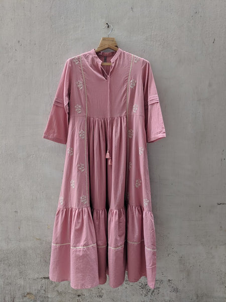 ROAM 191602 PINK EMBROIDERED TUNIC DRESS