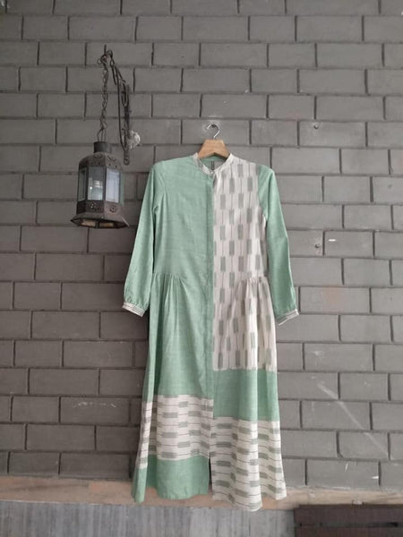 Roam 183106G Green handloom tunic color blocked
