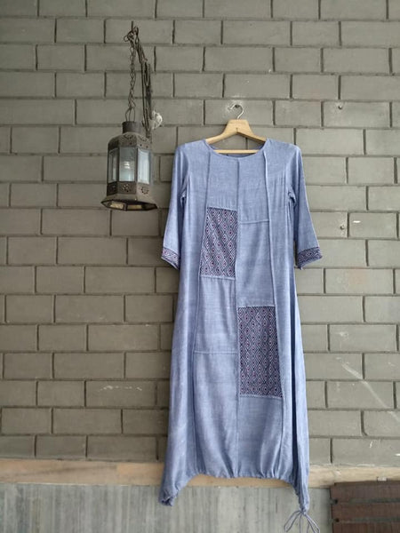 Roam 183213 Handloom Dress Blue with thread work detail