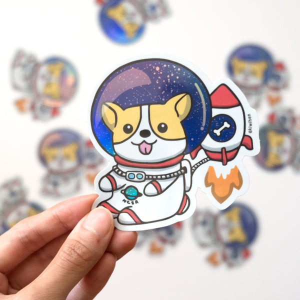 Holographic Space Corgi Sticker