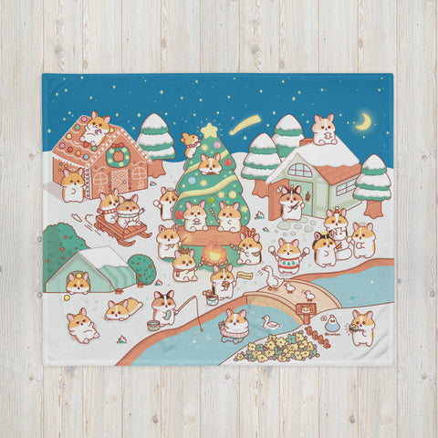 Corgi Corgmas Fleece Blanket