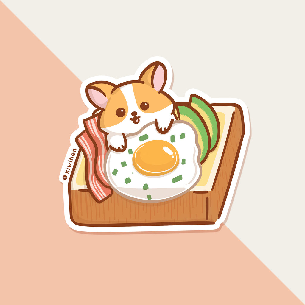 Corgi Avocado Toast Sticker