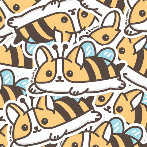 Bee Corgi Vinyl Sticker