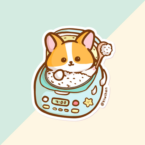 Blue Rice Cooker Corgi Vinyl Sticker