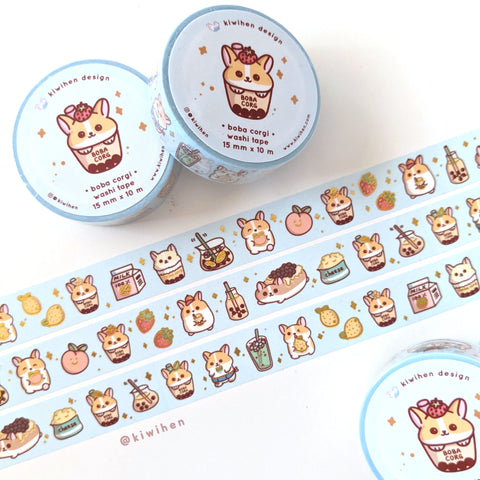Boba Corgi Gold Foil Washi Tape