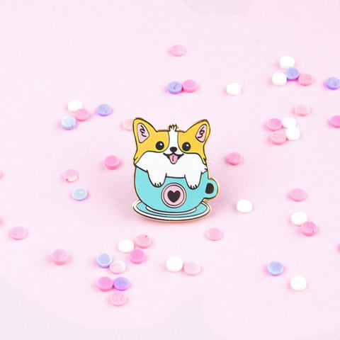 Corgi in Coffee Mug Enamel Pin