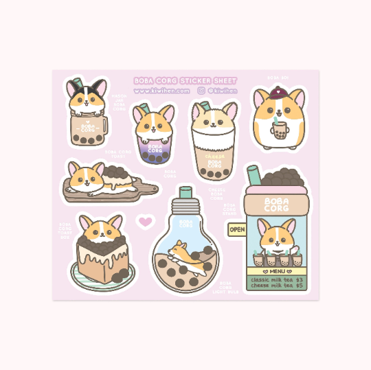 Boba Corg Sticker Sheet